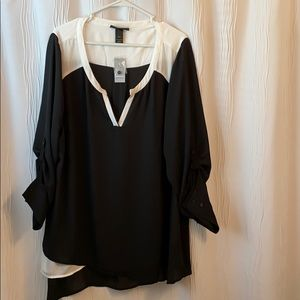 Black and white dressy polyester top